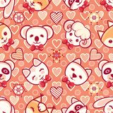 Cute pets. Seamless pattern. Colorful background with characters. Cute little animals. Seamless pattern. Colorful background with characters - Panda, lamb, cat Royalty Free Stock Image