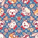 Cute pets. Seamless pattern. Colorful background with characters. Cute little animals. Seamless pattern. Colorful background with characters - Panda, lamb, cat Royalty Free Stock Photography