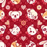 Cute pets. Seamless pattern. Colorful background with characters. Cute little animals. Seamless pattern. Colorful background with characters - Panda, lamb, cat Royalty Free Stock Images