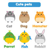 Cute pets set. Children style, isolated design elements, vector illustration. Cute pets set. Cat, dog, hamster, fish, parrot, rabbit in children style, vector Stock Photo