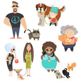 Cute pets with their owners. Vector flat illustration Stock Photography