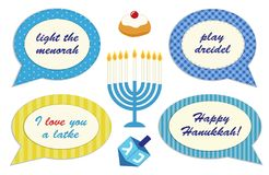 Cute photo booth props for Hanukkah. Grab a prop and strike a pose Royalty Free Stock Images