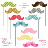 Cute photo booth props to make your Father`s Day really happy. Cute printable photo booth props to make your Father`s Day really happy Stock Photo
