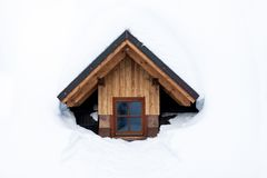 One wooden window in winter with snow Stock Photos