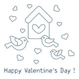 Cute picture with birds, birdhouse and hearts. Template for design, fabric, print. Greeting card Valentine`s Day. Vector. Cute picture with birds, birdhouse and vector illustration