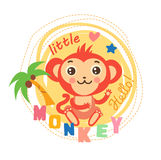 Cute Picture For Kids. T-Shirt Design. Cute Monkey For Shirt. Little Monkey Calms. Stock Photo