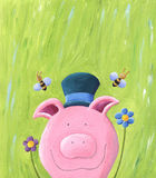 Cute pig. Acrylic illustration of Cute pink pig isolated on green meadow Stock Photo