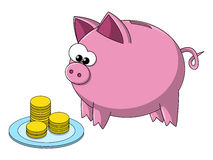Cute pig. Cartoon pig eating money from the plate Royalty Free Stock Photography