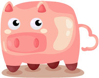 Cute pig. Illustration of isolated cute pig on white backgrond Royalty Free Stock Image