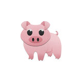 Cute pig is animal cartoon in farm of paper cut Stock Images