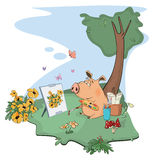 A cute pig artist paints a picture. Cartoon Stock Image