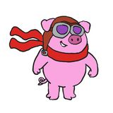 Cute Pig Aviator cartoon. Vector illustration royalty free illustration