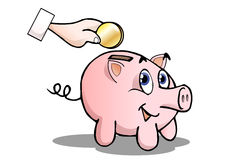 Cute pig bank. Money drooping  in a cute pig bank on isolated white background Royalty Free Stock Photo