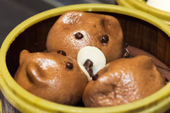 Cute pig baozi chinese steamed buns. In Chengdu, China Royalty Free Stock Photo
