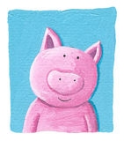 Cute pig on the blue background Royalty Free Stock Image
