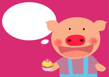 Cute pig with cake Royalty Free Stock Images