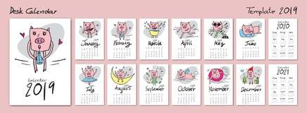 Cute Pig calendar 2019 template, calendar 2020, 2021, Chinese set desk calendar, Lettering calendar, hand-drawn pig cartoon vector. Illustration, Set of 12 vector illustration
