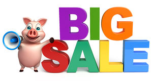 Cute  Pig cartoon character with bigsale sign Stock Images