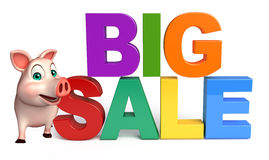 cute  Pig cartoon character with bigsale sign Royalty Free Stock Photo