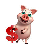Cute Pig cartoon character with dollar sign Royalty Free Stock Images