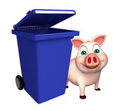 cute Pig cartoon character with dustbin Stock Photo