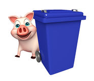 cute Pig cartoon character with dustbin Stock Photos