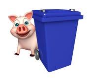 cute Pig cartoon character with dustbin Stock Photos