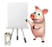 Cute Pig cartoon character  with easel board. 3d rendered illustration of Pig cartoon character with easel board Stock Photos