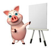 Cute Pig cartoon character  with easel board. 3d rendered illustration of Pig cartoon character with easel board Royalty Free Stock Photos