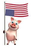 Cute Pig cartoon character  with flag. 3d rendered illustration of Pig cartoon character with flag Royalty Free Stock Photo