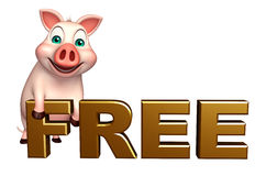cute  Pig cartoon character with free sign Royalty Free Stock Photo