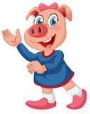 A cute pig cartoon character. Illustration stock illustration