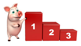 Cute  Pig cartoon character with level. 3d rendered illustration of Pig cartoon character with level Royalty Free Stock Image