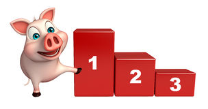 Cute  Pig cartoon character with level. 3d rendered illustration of Pig cartoon character with level Stock Images