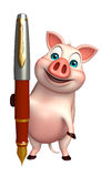 Cute Pig cartoon character with pen. 3d rendered illustration of Pig cartoon character with pen Royalty Free Stock Photos