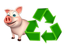 cute Pig cartoon character with recycle Royalty Free Stock Photos