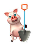 Cute Pig cartoon character with shovel Stock Images