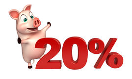 Cute Pig cartoon character with 20% sign. 3d rendered illustration of Pig cartoon character with 20% sign stock illustration