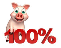 Cute Pig cartoon character with 100% sign. 3d rendered illustration of Pig cartoon character with 100% sign Stock Photo