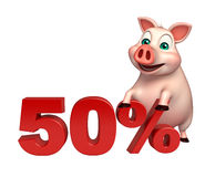 Cute Pig cartoon character  with 50% sign. 3d rendered illustration of Pig cartoon character with 50% sign Stock Images