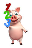 Cute Pig cartoon character with 123 sign. 3d rendered illustration of Pig cartoon character with 123 sign Royalty Free Stock Image