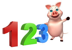 Cute Pig cartoon character with 123 sign. 3d rendered illustration of Pig cartoon character with 123 sign Stock Photography