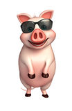 Cute Pig cartoon character with sunglass Stock Images