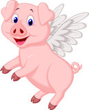 Cute pig cartoon flying Stock Image