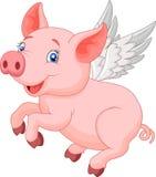 Cute pig cartoon flying Stock Photo