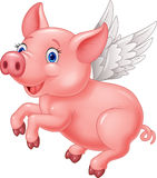 Cute pig cartoon flying on white background Stock Photo