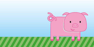 Cute pig cartoon with green grass and blue sky Stock Photos