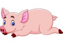 Cute pig cartoon stock illustration