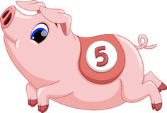 Cute pig cartoon running Stock Photo