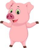Cute pig cartoon waving Stock Images